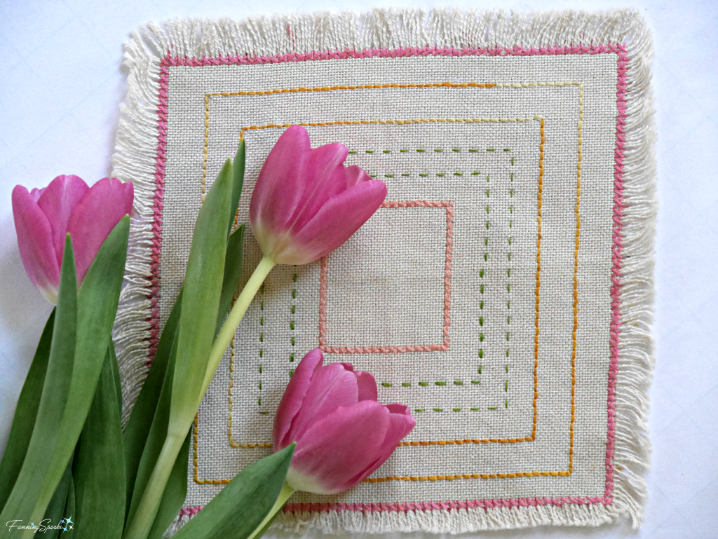 Beginner embroidery sampler with cross and running stitches. @FanningSparks
