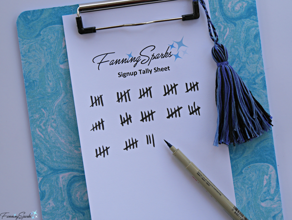 FanningSparks Signup Tally Sheet - Can I Count You In? @FanningSparks