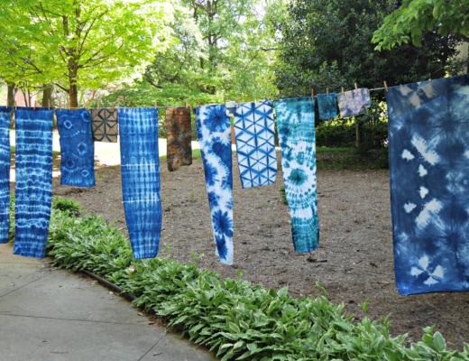 Natural Dyes Workshop projects drying on line. @FanningSparks