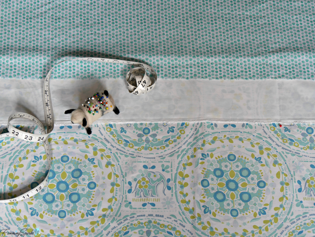 Visual check of new fabric and design for lengthened shower curtain. @FanningSparks