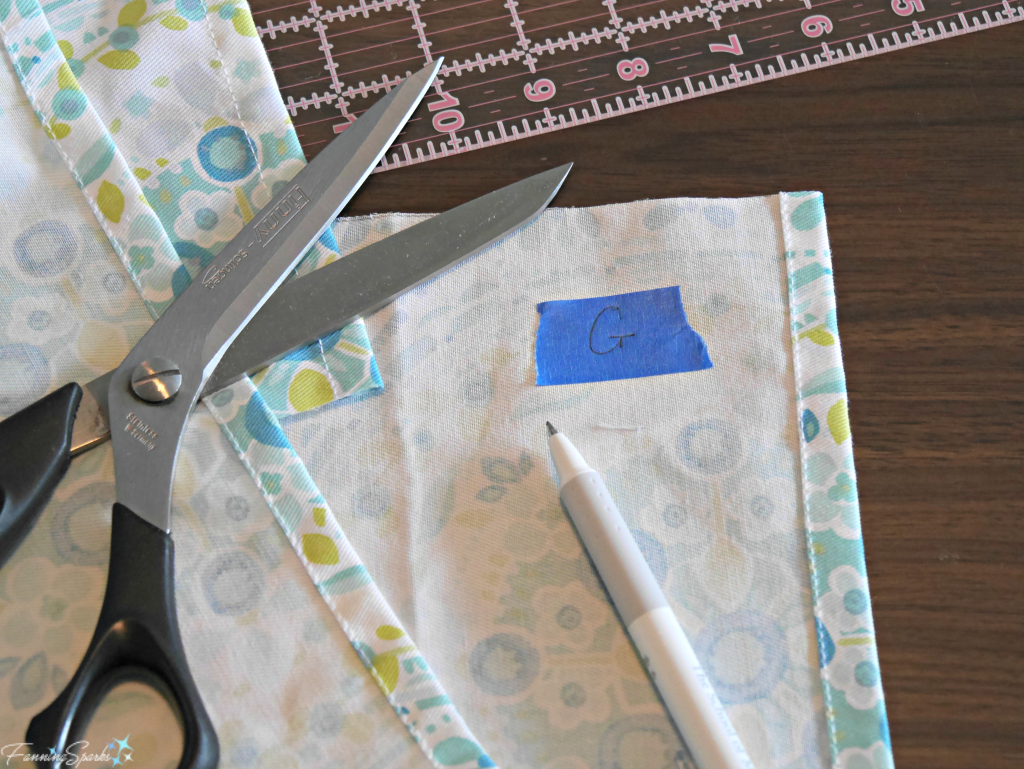 Marking the fabric pieces to ease assembly. @FanningSparks