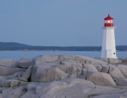 Peggys Point Lighthouse during magic hour before sunrise. @FanningSparks