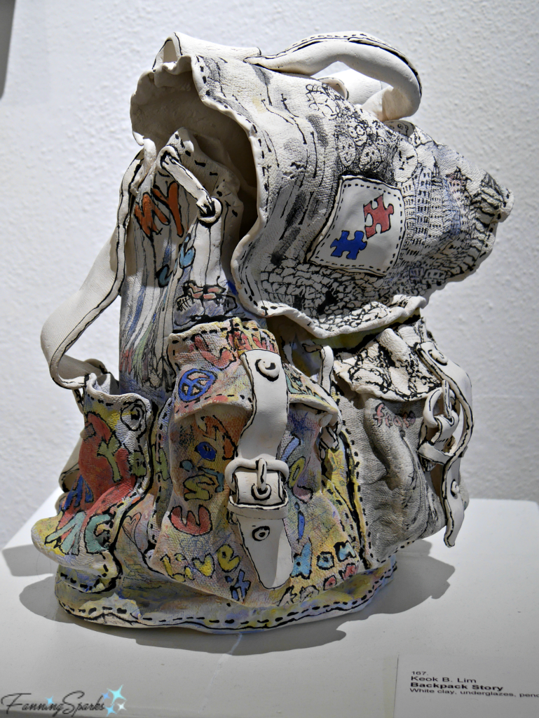 Backpack Story by Keok Lim at OCAF Perspectives Georgia Pottery Invitational 2018. @FanningSparks