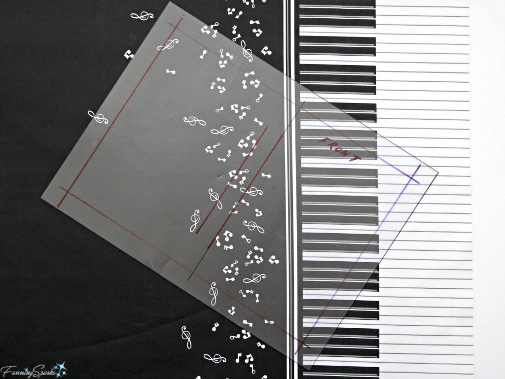 Using Template to Determine Placement of Music Fabric Design for DIY Personalized Fabric-Covered Journal. @FanningSparks