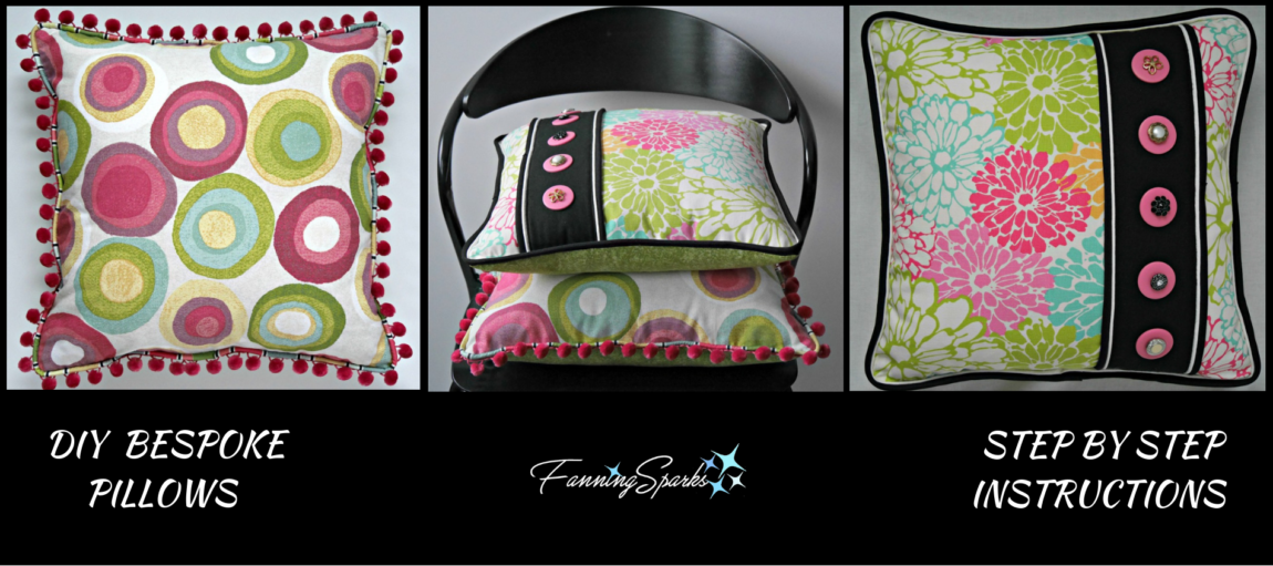 DIY Bespoke Pillows Tutorial with Step by Step Instructions. @FanningSparks