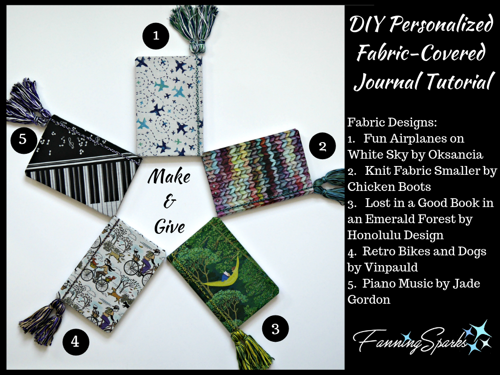 DIY Personalized Fabric-Covered Journals with Fabric Designers Identified. @FanningSparks