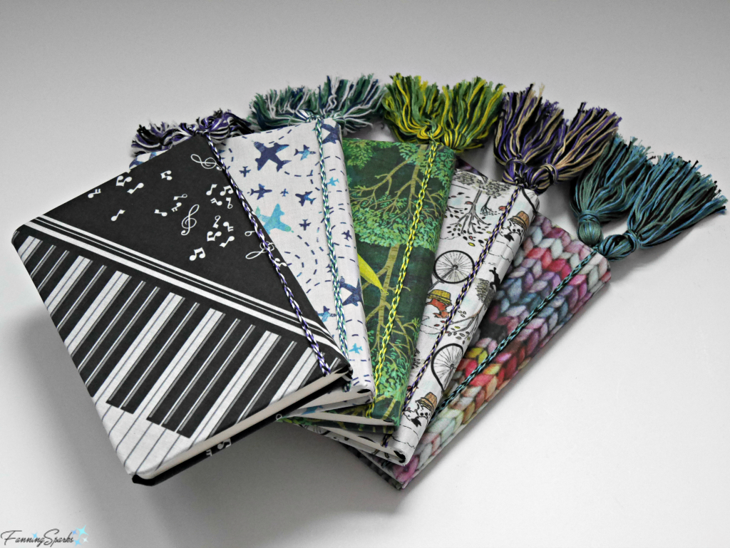 FIve Personalized Fabric-Covered Journals with matching Corded Tassels. @FanningSparks