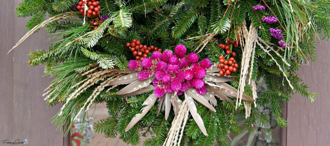 Holiday Wreath Featuring Vibrant Globe Amaranth Blooms. @FanningSparks