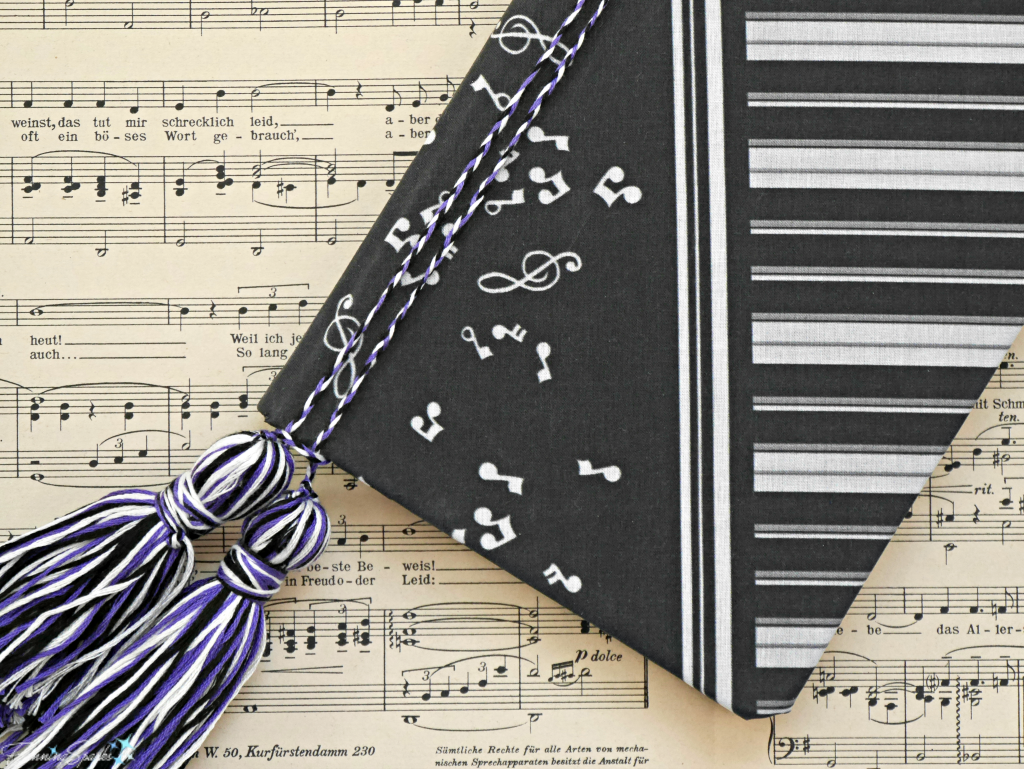 Music Journal Made With FanningSparks DIY Personalized Fabric-Covered Journal Tutorial. @FanningSparks