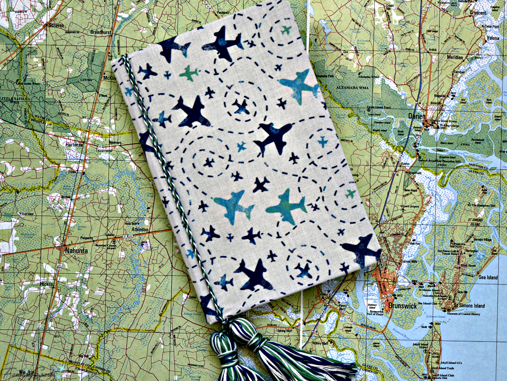Travel Journal Made With FanningSparks DIY Personalized Fabric-Covered Journal Tutorial. @FanningSparks