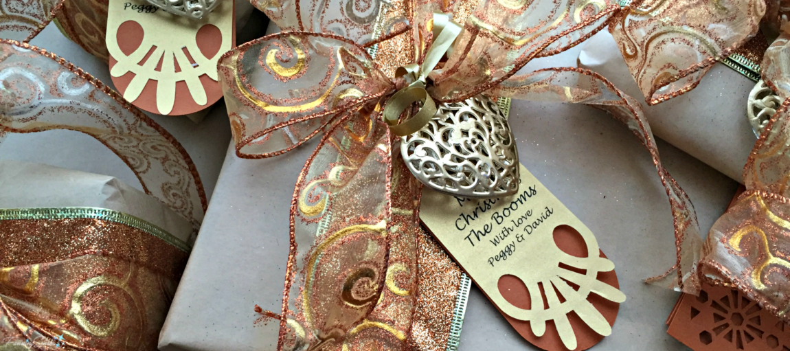 Tips to Jazz Up Your Gift Wrapping - Gold Heart and Copper Ribbons. @FanningSparks