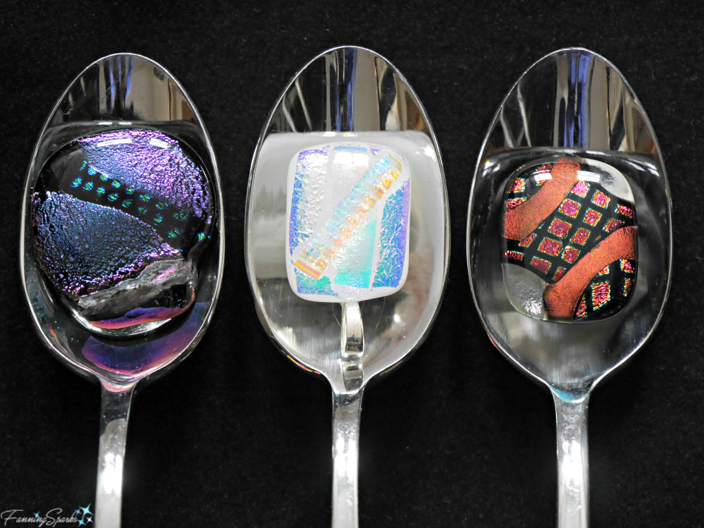 Dichroic Glass Pendants from Cat Martin. @FanningSparks
