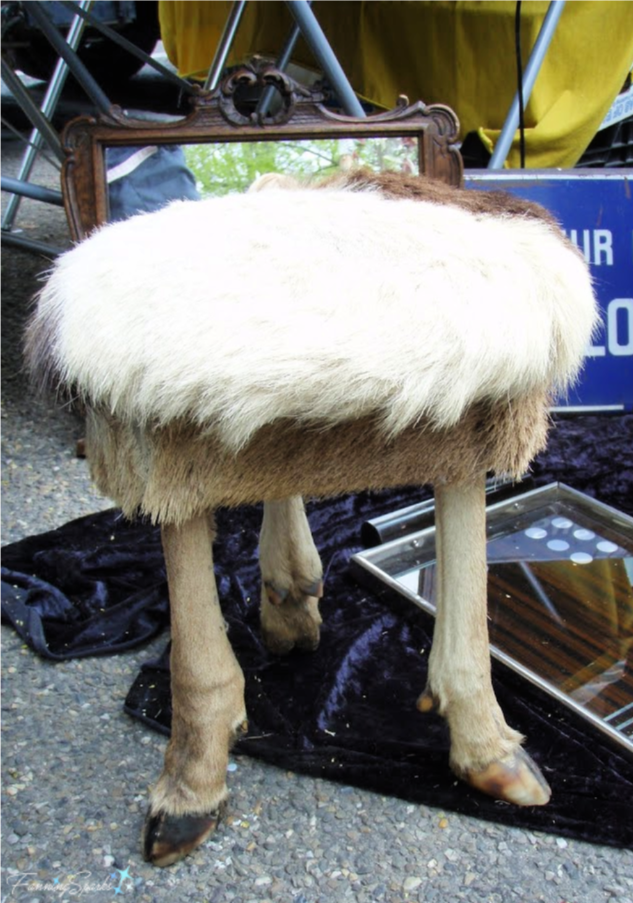 Outrageous 3-Legged Stool from Antiques Market in Tongeren Belgium.   @FanningSparks